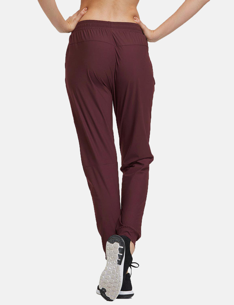 Baleaf Womens Evo Mid Rise Seamless Lightweight Mesh Paneled Cuffed Track Pants Dark Red Back