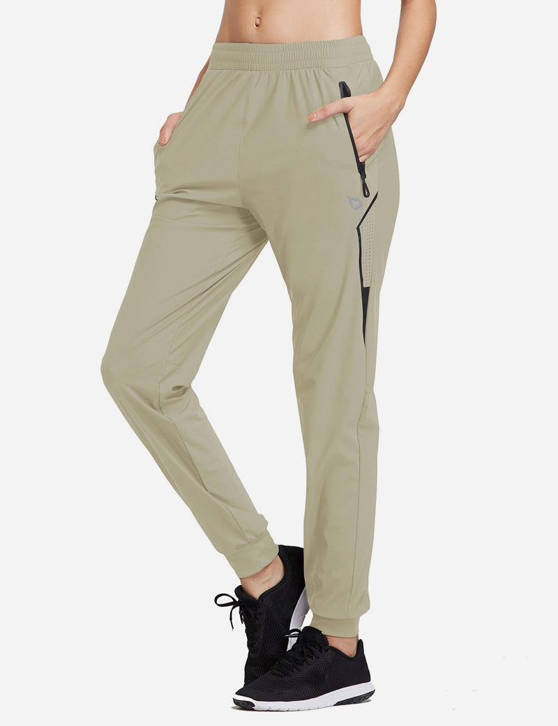 Baleaf Women Evo Mid Rise Seamless Lightweight Mesh Paneled Cuffed Track Pants Khaki Side