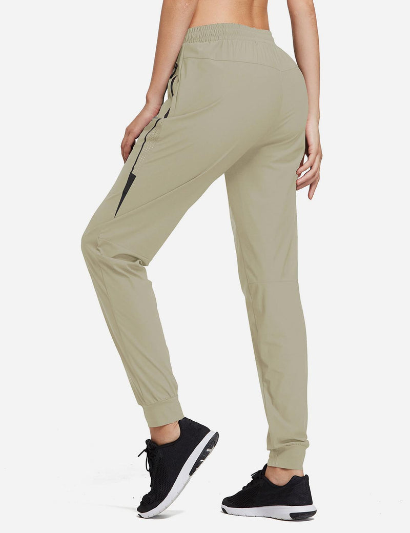 Baleaf Women Evo Mid Rise Seamless Lightweight Mesh Paneled Cuffed Track Pants Khaki Back