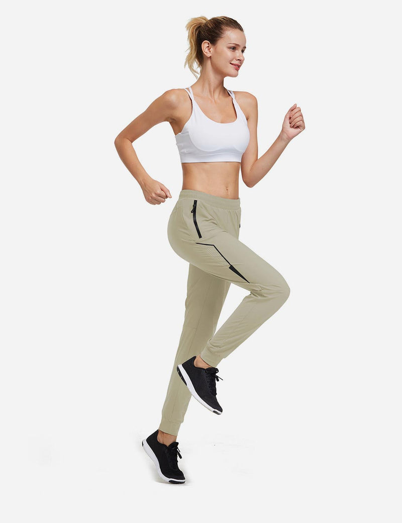 Baleaf Women Evo Mid Rise Seamless Lightweight Mesh Paneled Cuffed Track Pants Khaki Full