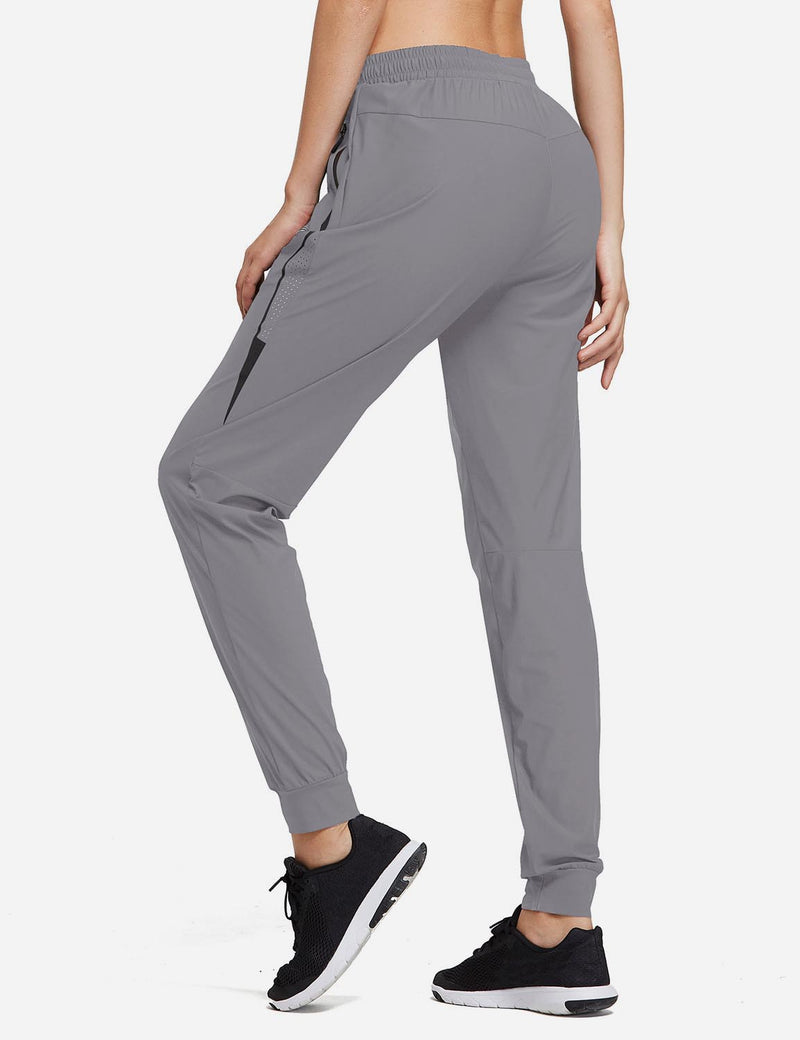 Baleaf Women Evo Mid Rise Seamless Lightweight Mesh Paneled Cuffed Track Pants Purple Back