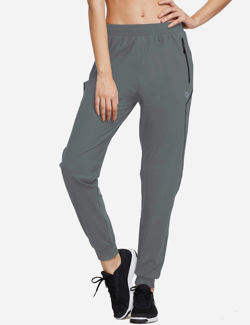 Baleaf Womens Evo Mid Rise Seamless Lightweight Mesh Paneled Cuffed Track Pants Slate Gray Front
