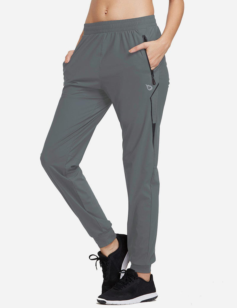 Baleaf Womens Evo Mid Rise Seamless Lightweight Mesh Paneled Cuffed Track Pants Slate Gray Side