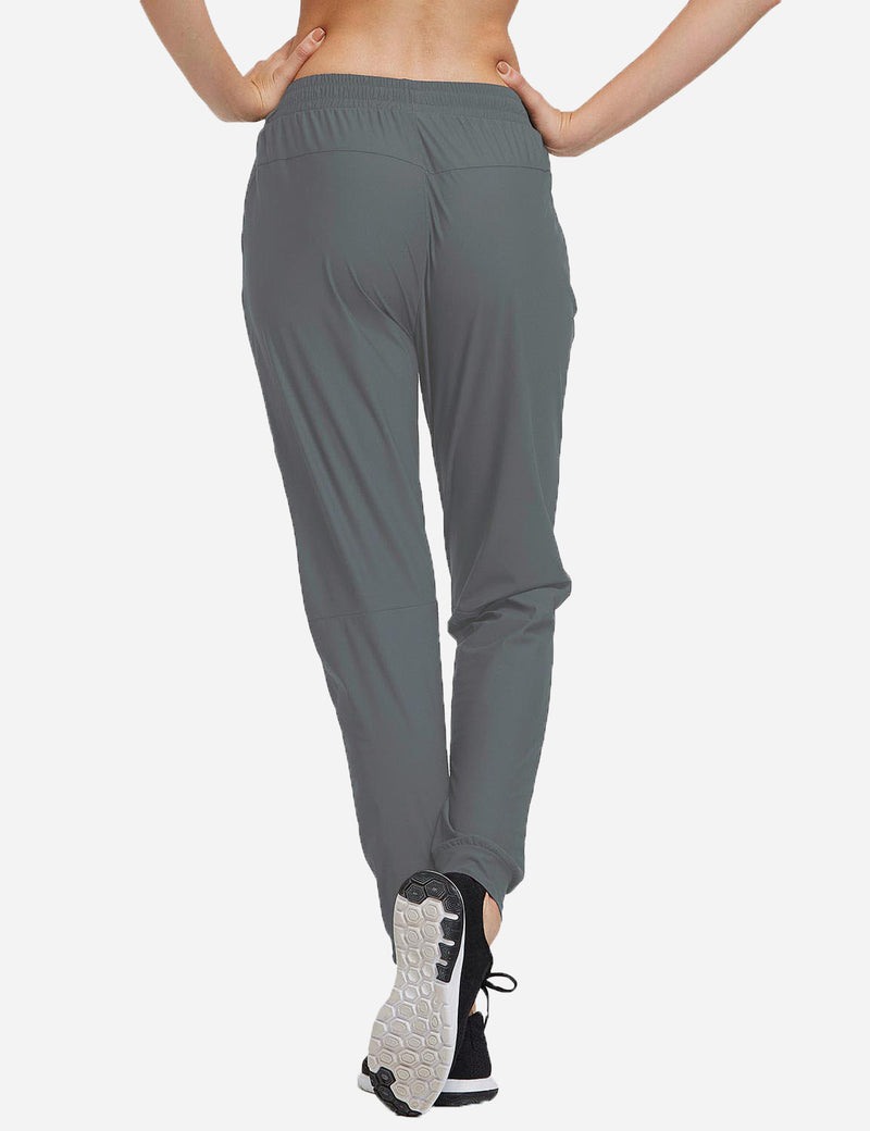 Baleaf Womens Evo Mid Rise Seamless Lightweight Mesh Paneled Cuffed Track Pants Slate Gray Back