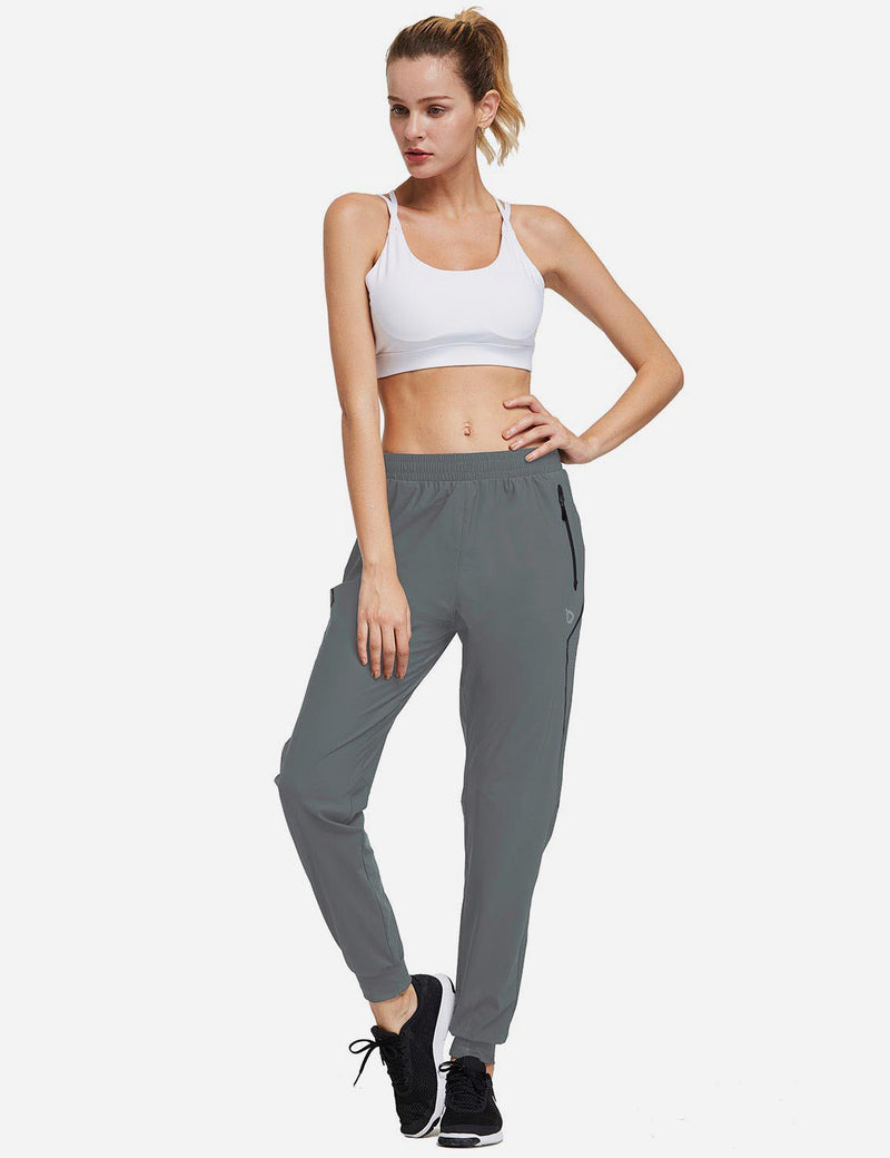 Baleaf Womens Evo Mid Rise Seamless Lightweight Mesh Paneled Cuffed Track Pants Slate Gray Full