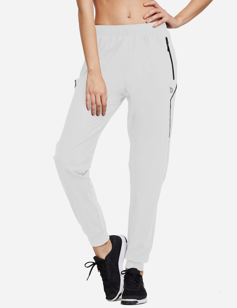 Baleaf Women Evo Mid Rise Seamless Lightweight Mesh Paneled Cuffed Track Pants White Front