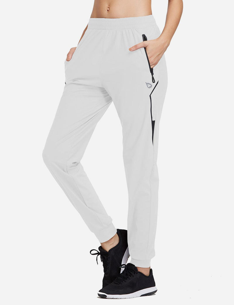 Baleaf Women Evo Mid Rise Seamless Lightweight Mesh Paneled Cuffed Track Pants White Side