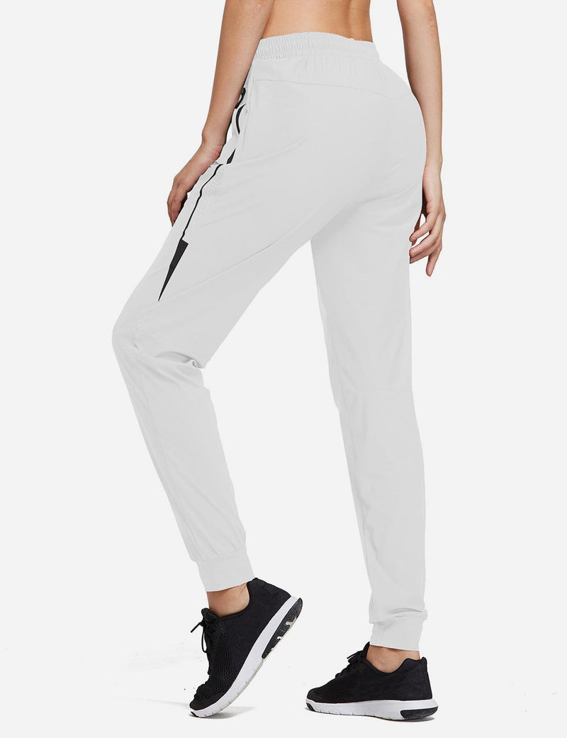 Baleaf Women Evo Mid Rise Seamless Lightweight Mesh Paneled Cuffed Track Pants White Back