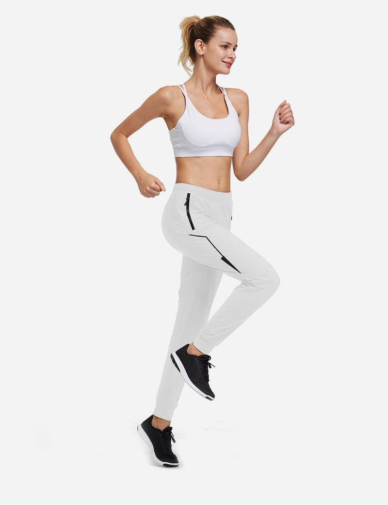 Baleaf Women Evo Mid Rise Seamless Lightweight Mesh Paneled Cuffed Track Pants White Full