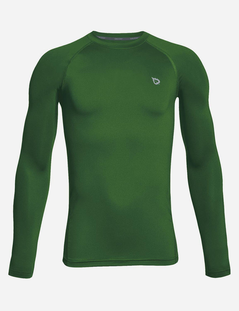 Baleaf Boy's Compression Athletic T Shirt Long Sleeved Baselayer Army Green front