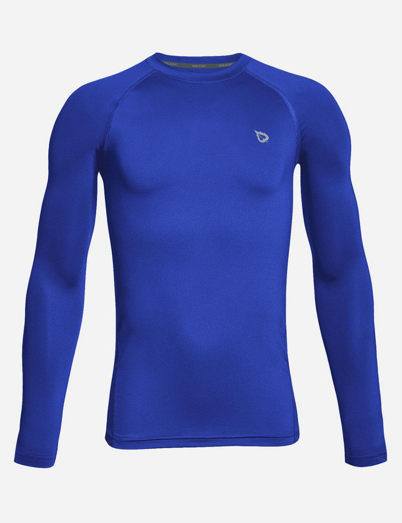 Baleaf Boy's Compression Athletic T Shirt Long Sleeved Baselayer Royal Blue front