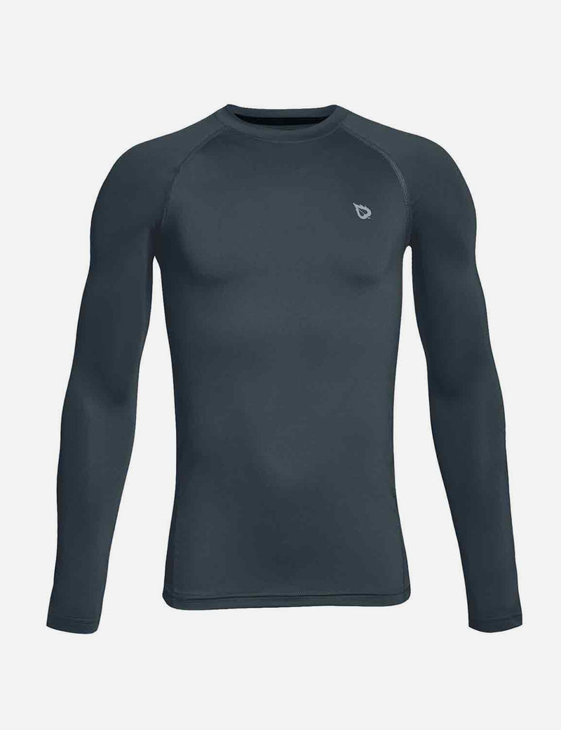 Baleaf Boys' Compression Athletic T Shirt Long Sleeve Baselayer grey front