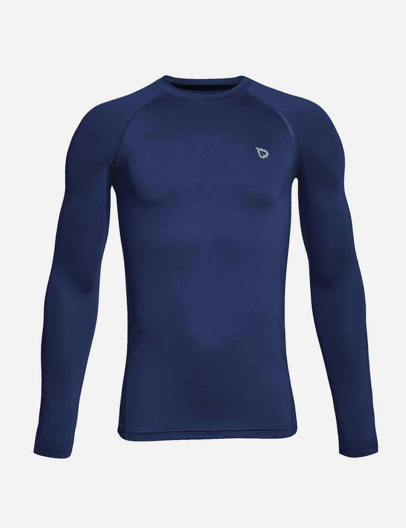 Baleaf Boys' Compression Athletic T Shirt Long Sleeve Baselayer navy front