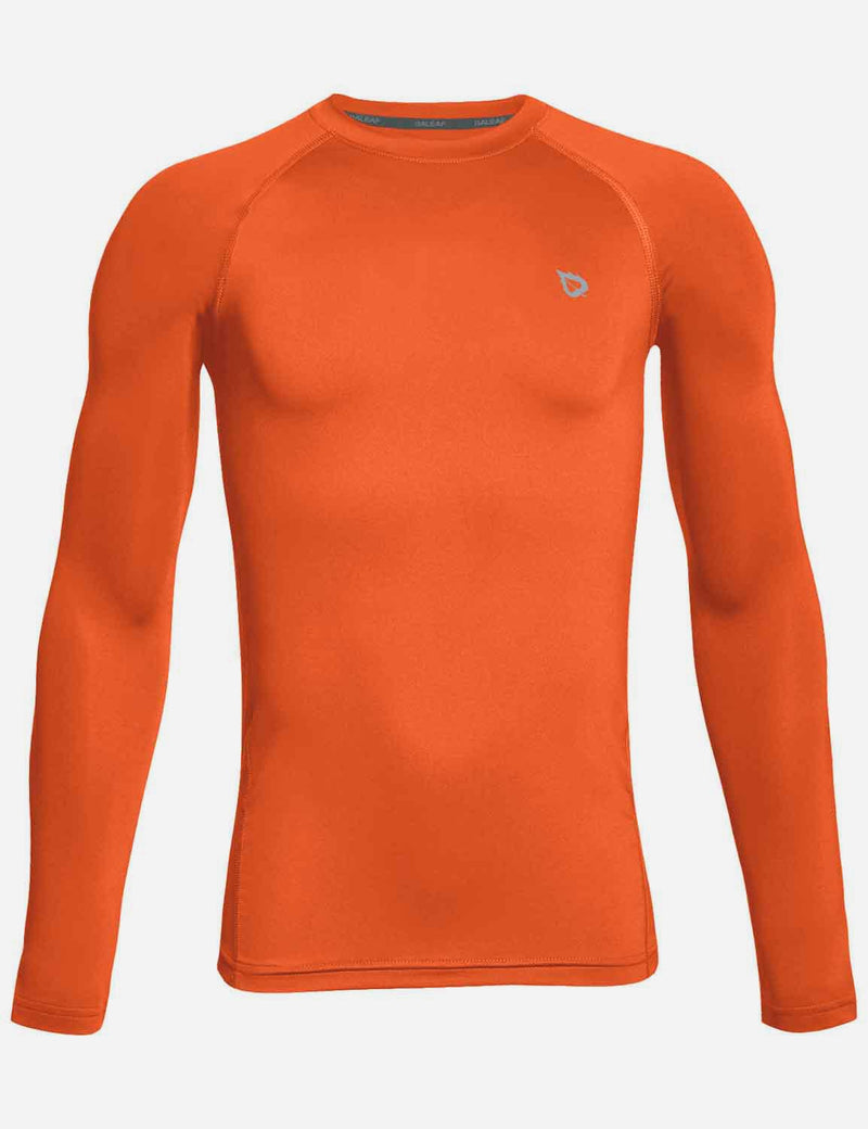 Baleaf Boy's Compression Athletic T Shirt Long Sleeved Baselayer Orange Front