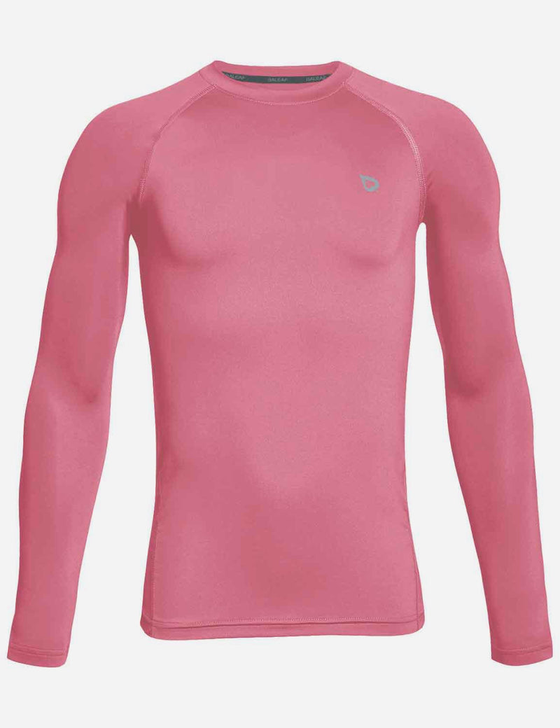Baleaf Boy's Compression Athletic T Shirt Long Sleeved Baselayer Pink Front
