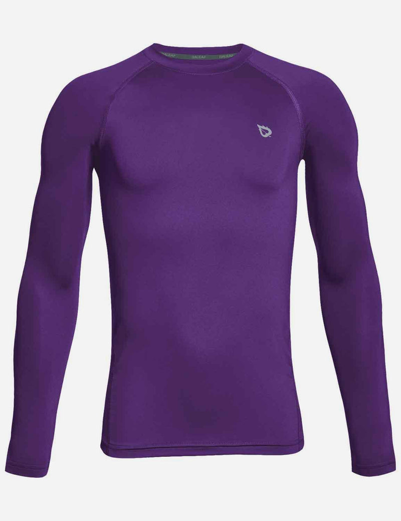Baleaf Boy's Compression Athletic T Shirt Long Sleeved Baselayer Purple Front