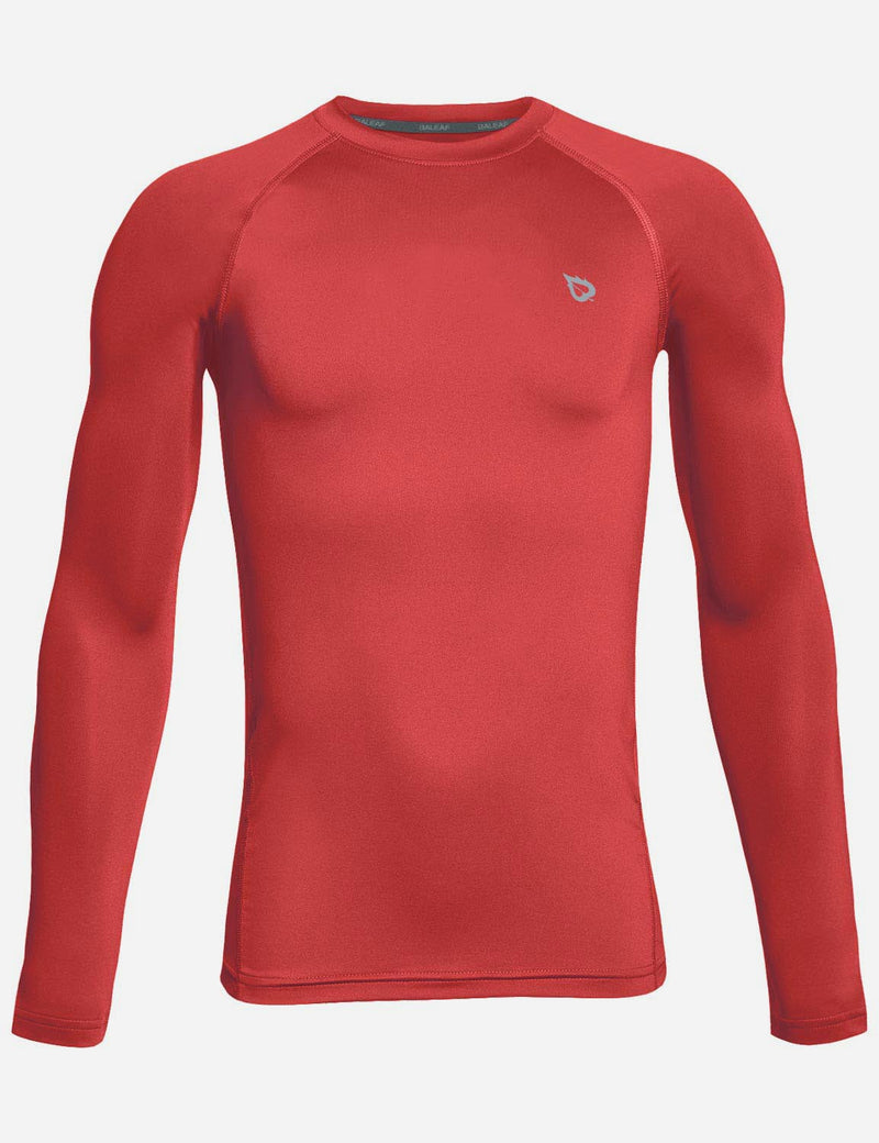 Baleaf Boy's Compression Athletic T Shirt Long Sleeved Baselayer Red front