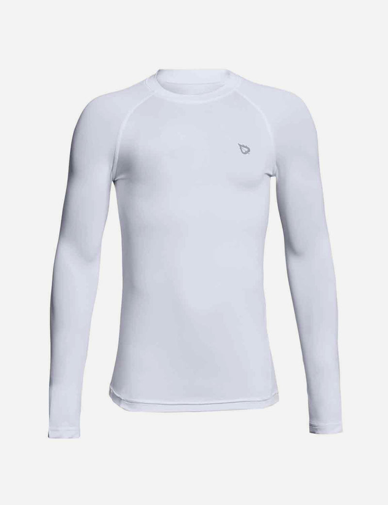 Baleaf Boys' Compression Athletic T Shirt Long Sleeve Baselayer white front