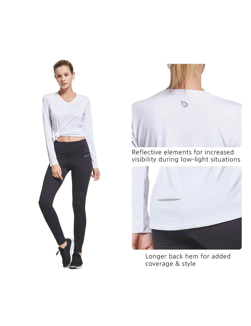Baleaf Womens V-Neck Tag-free Long Shirts white details