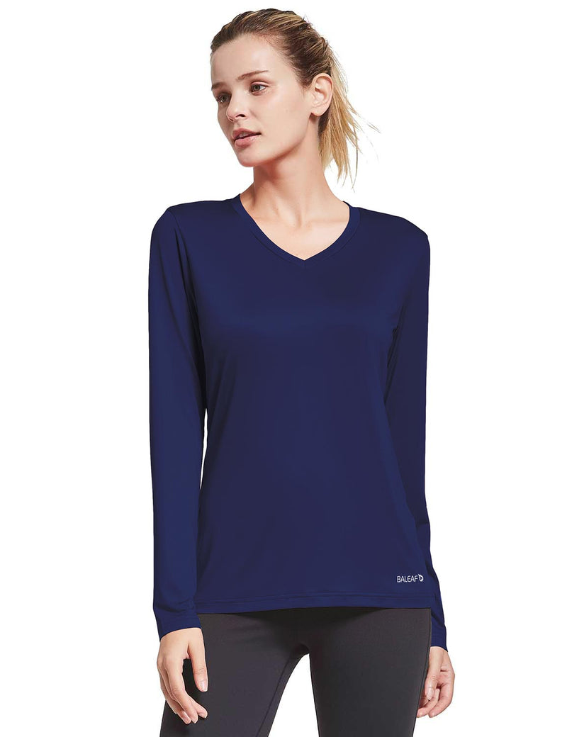 Baleaf Womens Loose Fit V-Neck Tag-free Long Sleeved Shirt Navy Side