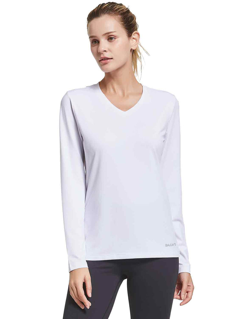 Baleaf Womens V-Neck Tag-free Long Shirts white front