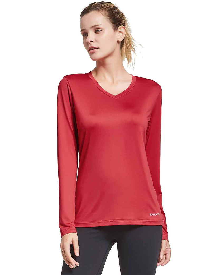 Baleaf Womens V-Neck Tag-free Long Shirts red side