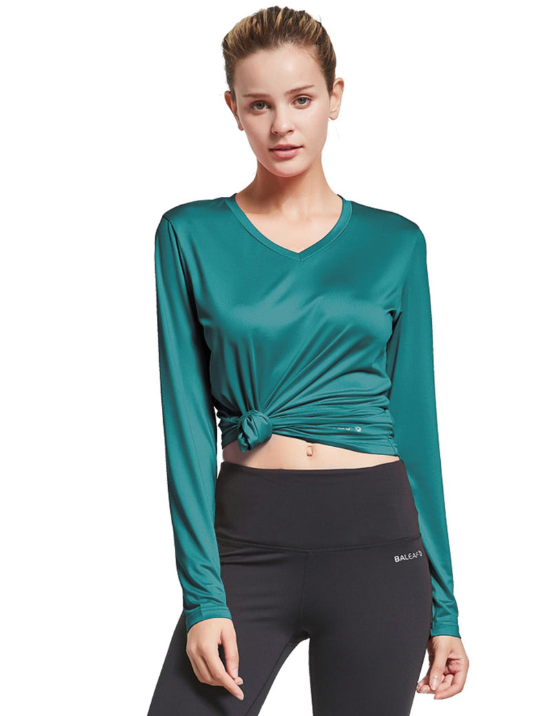 Baleaf Womens Loose Fit V-Neck Tag-free Long Sleeved Shirt Teal Front