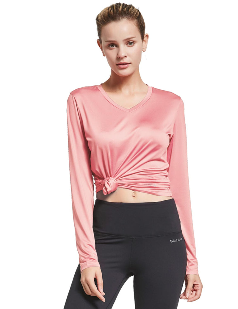 Baleaf Womens Loose Fit V-Neck Tag-free Long Sleeved Shirt Pink Front