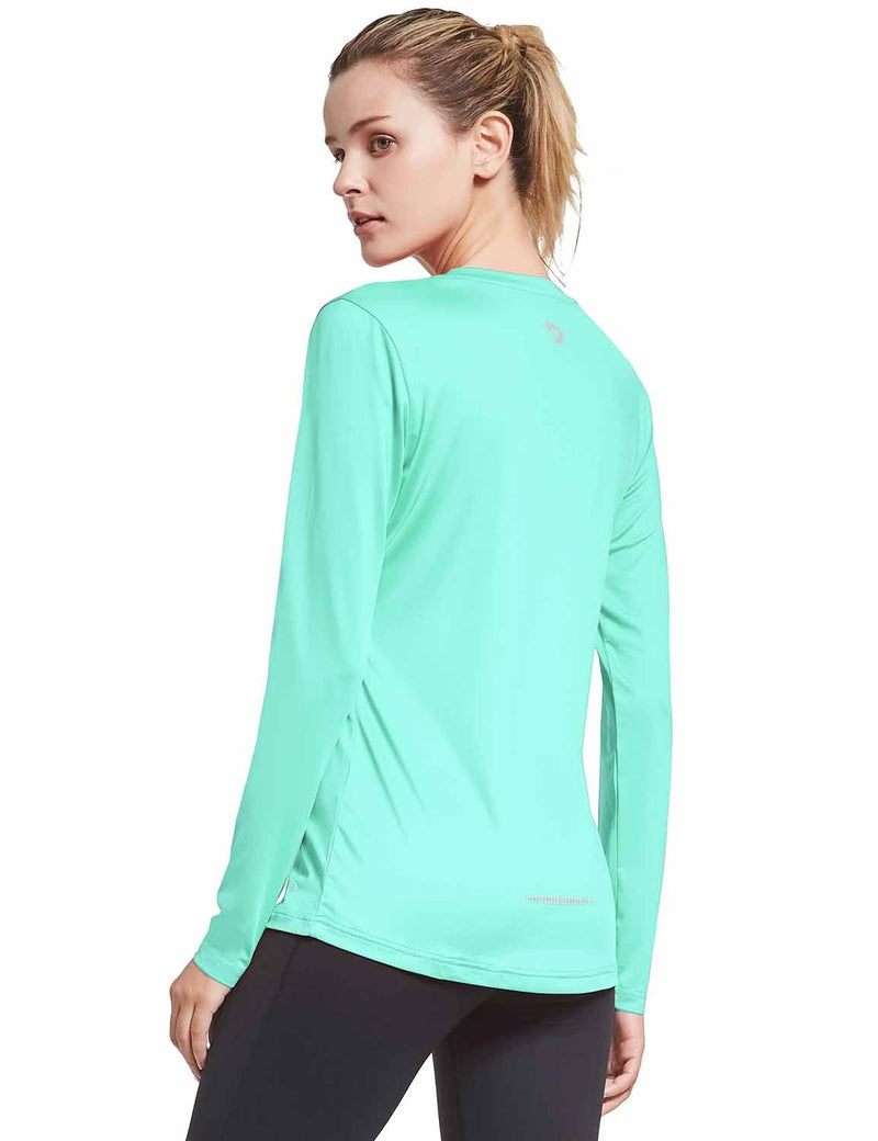 Baleaf Womens V-Neck Tag-free Long Shirt Aqua side
