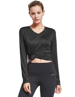 Baleaf Womens V-Neck Tag-free Long Shirts black front