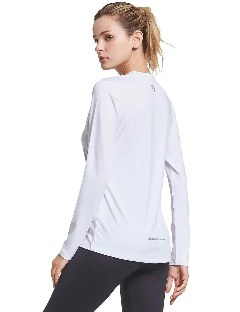 Baleaf Womens V-Neck Tag-free Long Shirts white back
