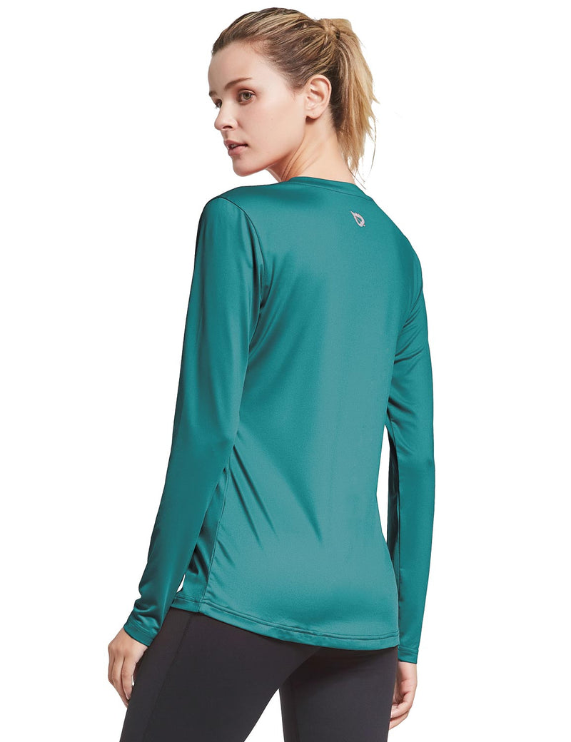 Baleaf Womens Loose Fit V-Neck Tag-free Long Sleeved Shirt Teal Side