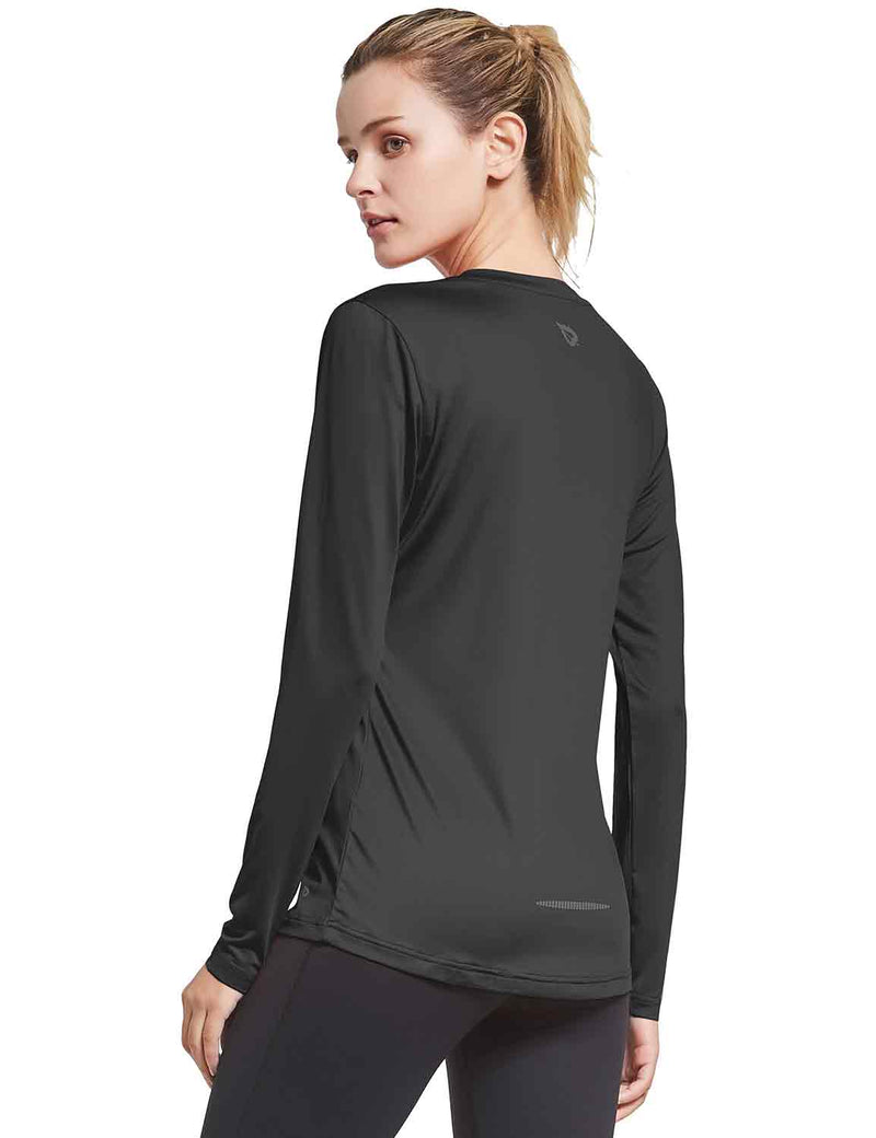 Baleaf Womens V-Neck Tag-free Long Shirts black side