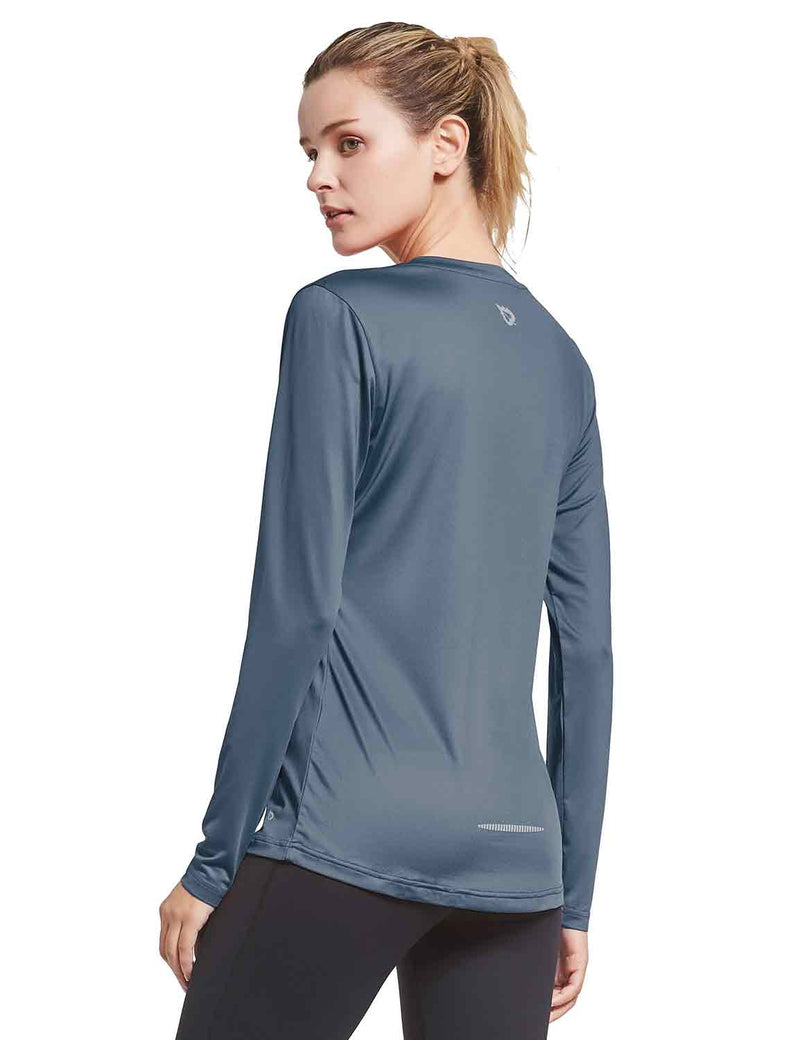 Baleaf Womens V-Neck Tag-free Long Shirts grey back