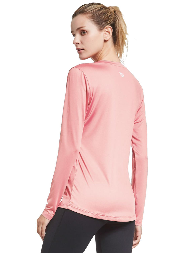 Baleaf Womens Loose Fit V-Neck Tag-free Long Sleeved Shirt Pink Back