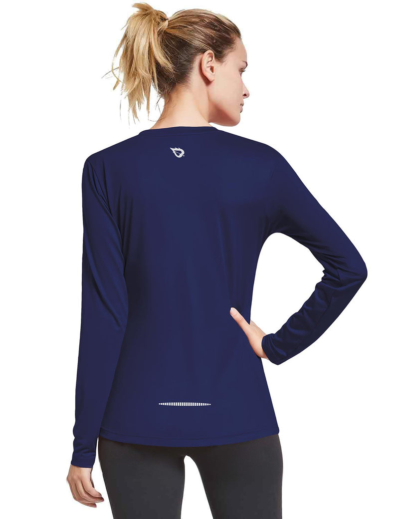 Baleaf Womens Loose Fit V-Neck Tag-free Long Sleeved Shirt Navy Back
