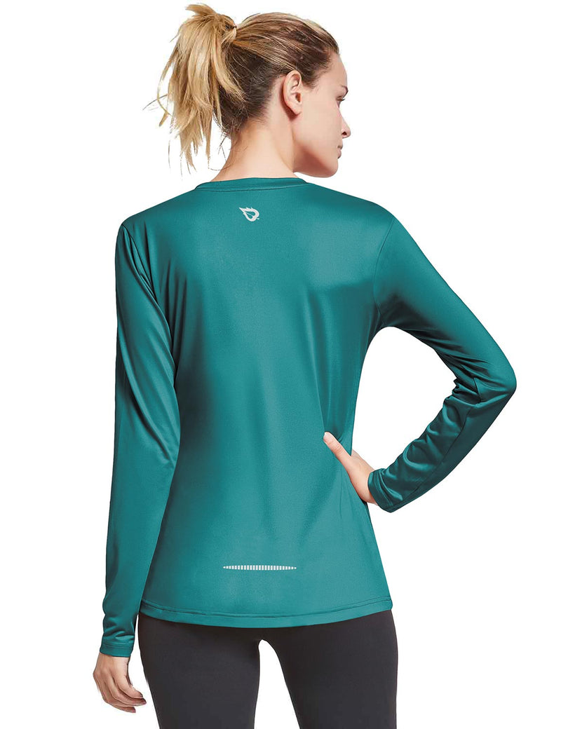 Baleaf Womens Loose Fit V-Neck Tag-free Long Sleeved Shirt Teal Back