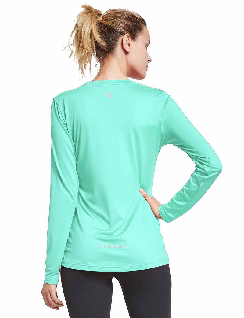Baleaf Womens V-Neck Tag-free Long Shirt Aqua back