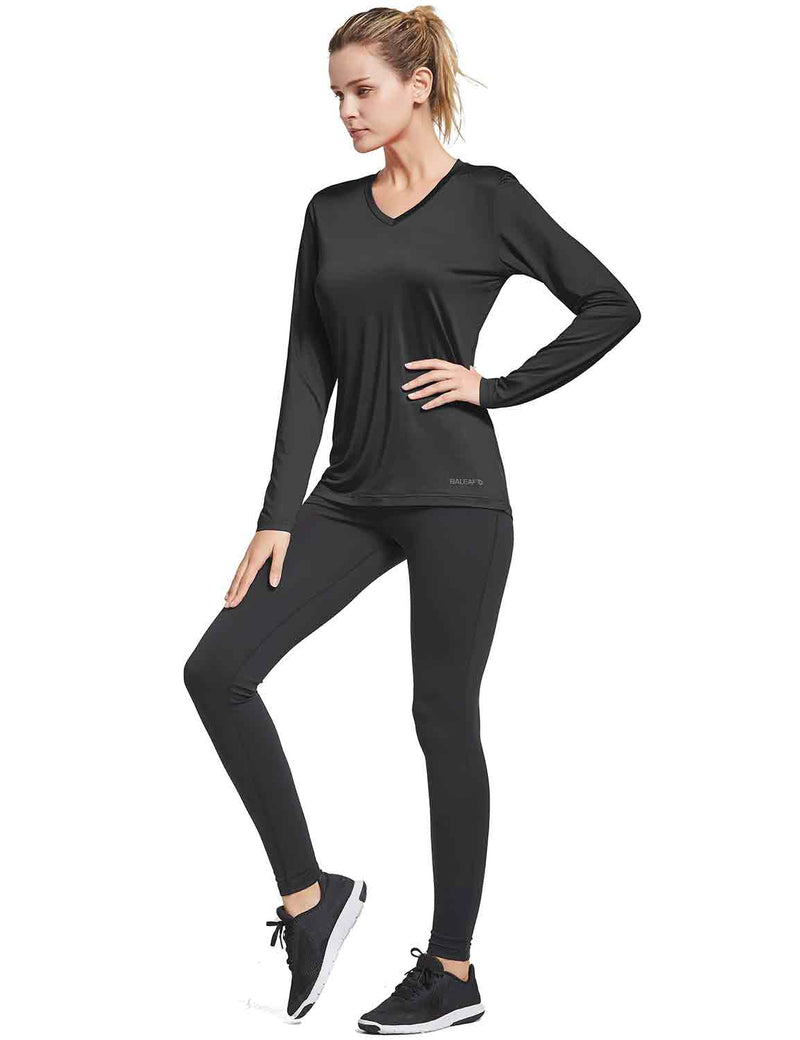 Baleaf Womens V-Neck Tag-free Long Shirts black full