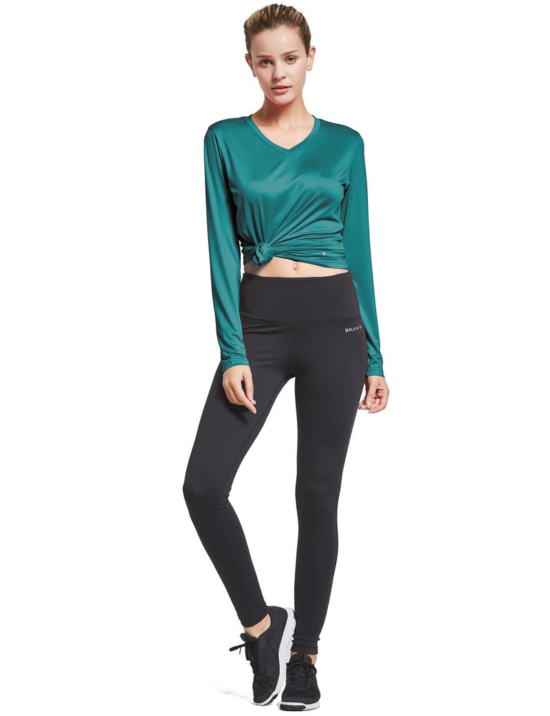 Baleaf Womens Loose Fit V-Neck Tag-free Long Sleeved Shirt Teal Full