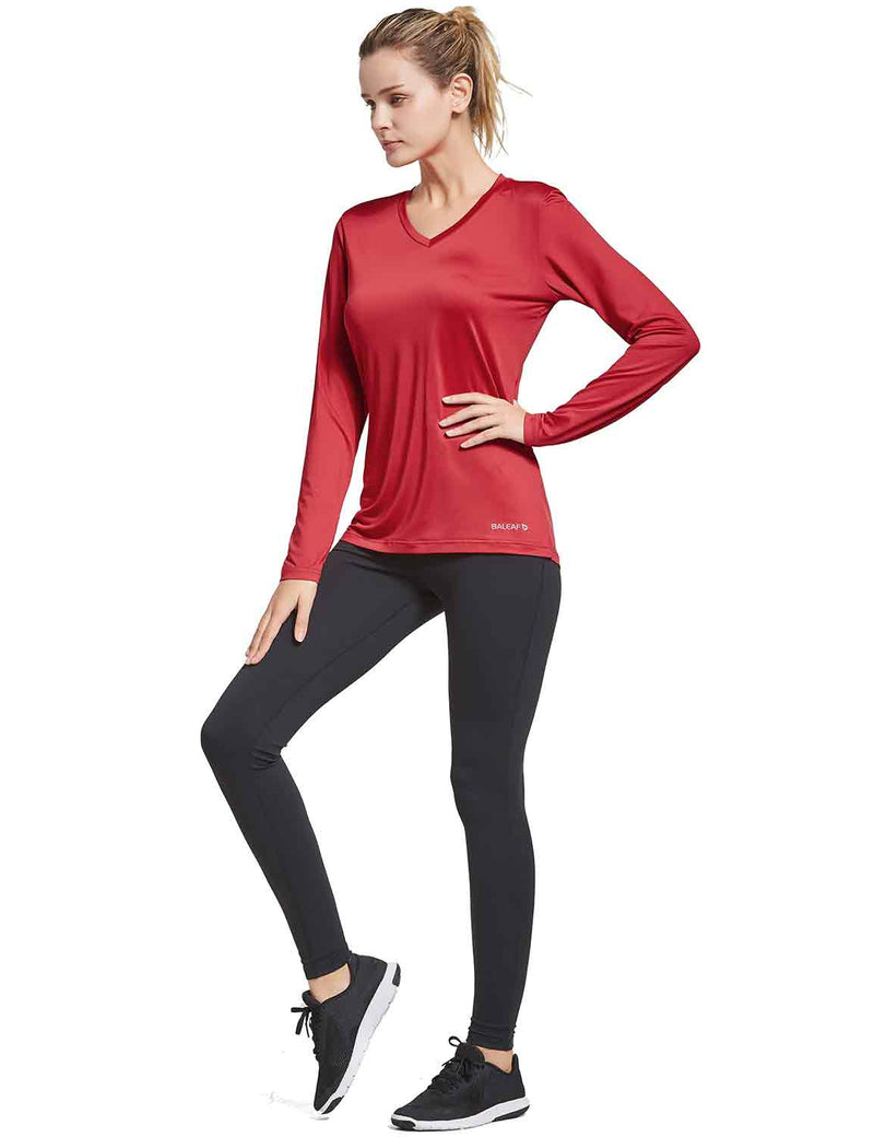 Baleaf Womens V-Neck Tag-free Long Shirts red full