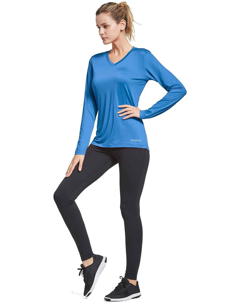 Baleaf Womens V-Neck Tag-free Long Shirts royal blue full