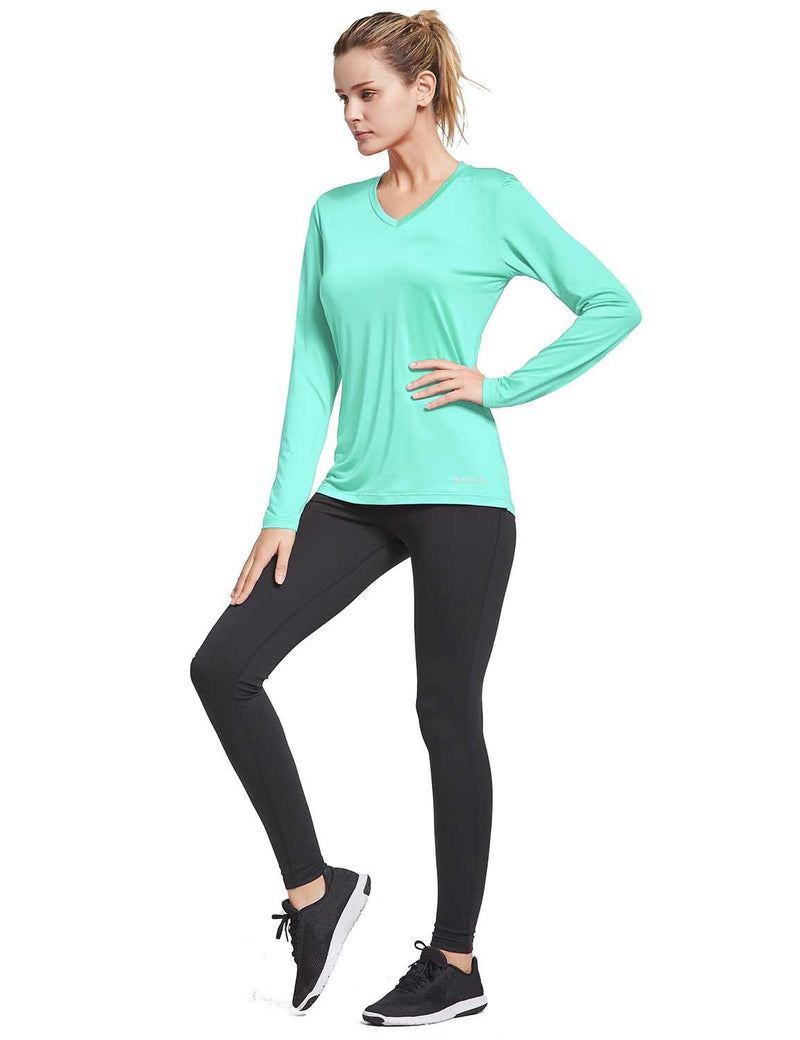 Baleaf Womens V-Neck Tag-free Long Shirt Aqua full
