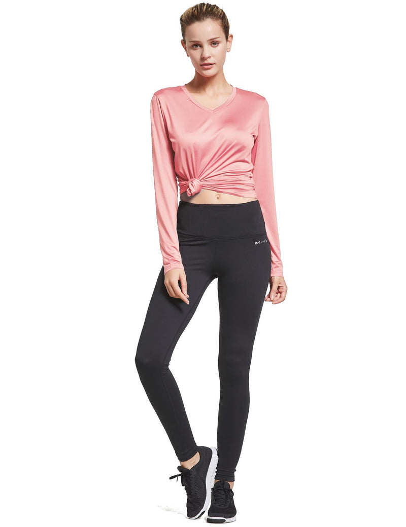 Baleaf Womens Loose Fit V-Neck Tag-free Long Sleeved Shirt Pink Full