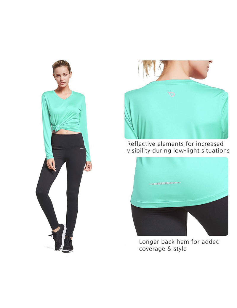 Baleaf Womens V-Neck Tag-free Long Shirt Aqua details