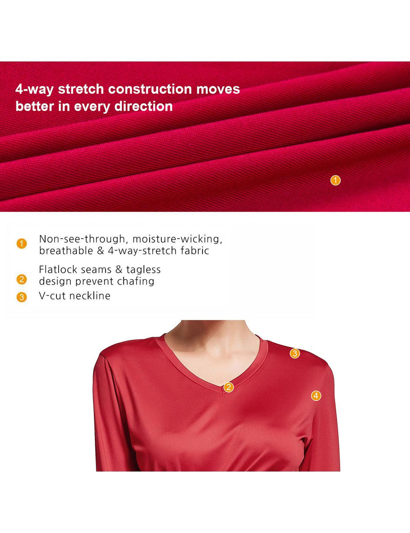 Baleaf Womens V-Neck Tag-free Long Shirts red details