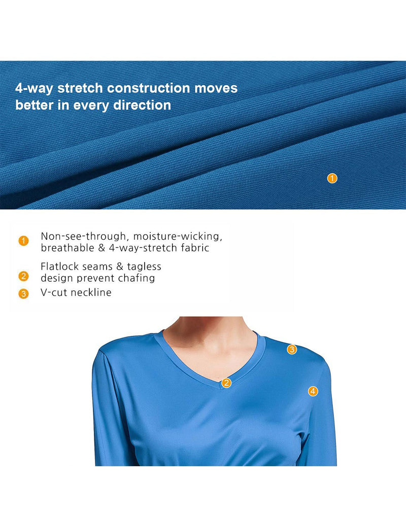 Baleaf Womens V-Neck Tag-free Long Shirts royal blue details