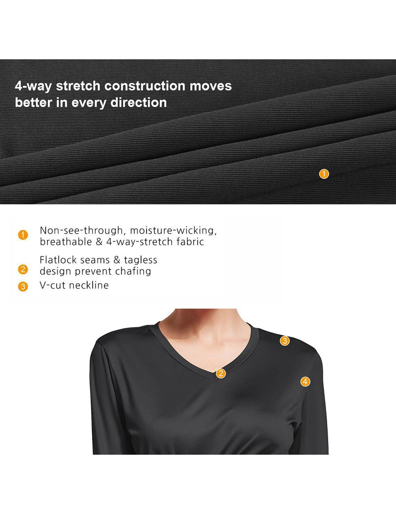 Baleaf Womens V-Neck Tag-free Long Shirts black details