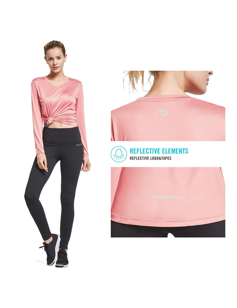 Baleaf Womens Loose Fit V-Neck Tag-free Long Sleeved Shirt Pink Details