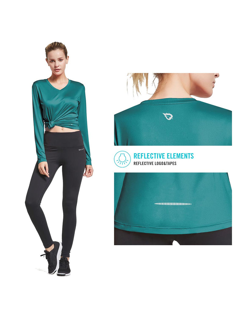 Baleaf Womens Loose Fit V-Neck Tag-free Long Sleeved Shirt Teal Details